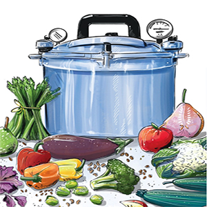 Color drawing of pressure cooker on a table with a variety of vegetables.