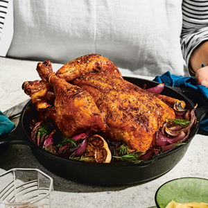 Pastrami Roast Chicken with Schmaltzy Onions & Dill