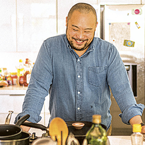 photo of David Chang in the kitchen