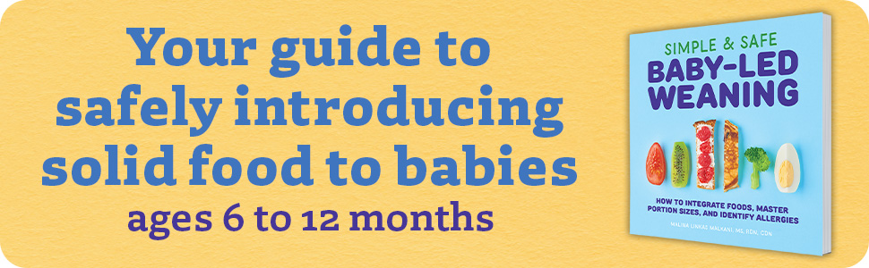 Your guide to safely introducing solid food to babies ages 6 to 12 months. Book cover on the side