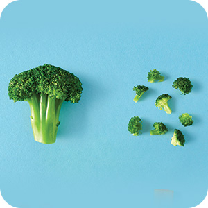 Small bites of broccoli on a light blue table.