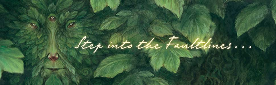 the text Step into the faultlines on top of a face made out of leaves or feathers