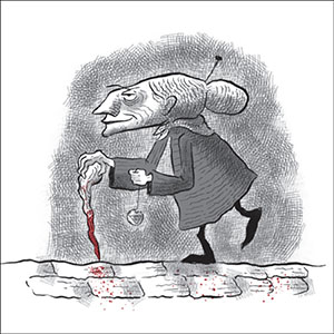 Image of an old woman with her hair in a bun, holding a walking stick with a tip covered in blood