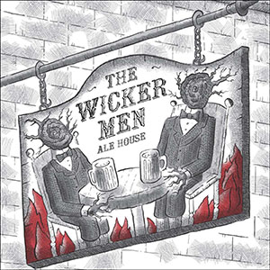 """A sign reading """"The Wicker Man ale house"""" and a logo of two sitting figures with branches for heads"""